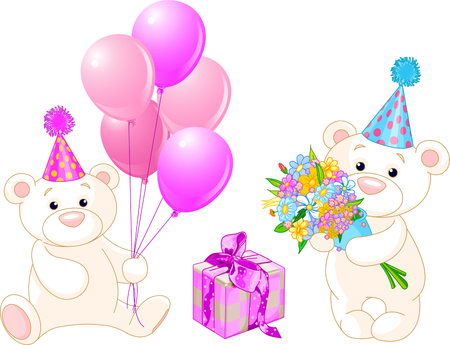 Adorable Teddy Bears with birthday staff. Vector Illustration Vector