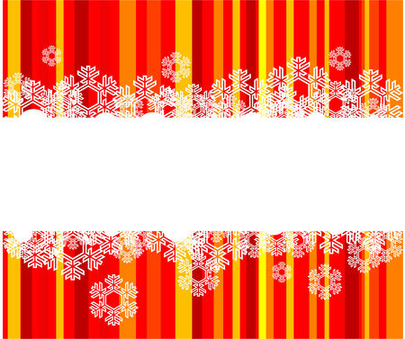 The white snowflakes on top and bottom  of the stripe colored background  Vector