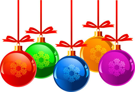 Christmas balls with bows in different colors, isolated over white background  Çizim