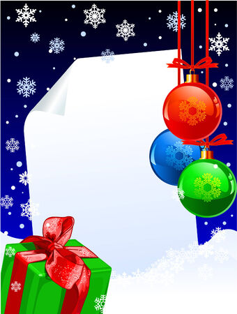 Christmas winter decoration with copy space, balls and present