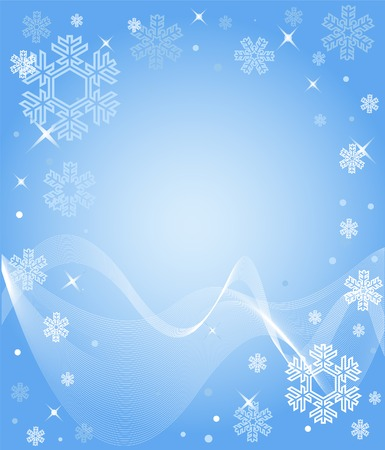 A light blue snowflake background with different snowflakes Illustration