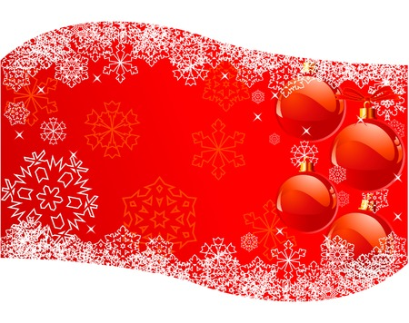 The white snowflakes on top of the red background Vector