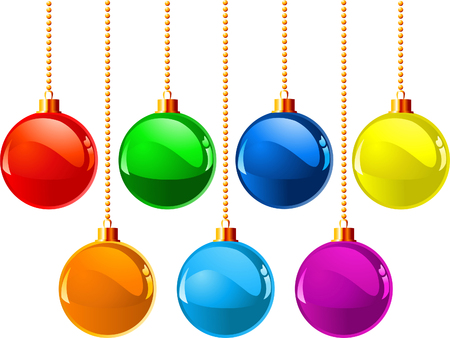 Seven color different vector xmas ball, vector illustration Stock Vector - 5614092