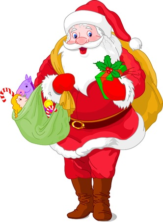 carrying box: Caminar Santa Claus llevando su bolsa de regalo. Aislado en un fondo blanco. Santa Claus, Christmas, invierno, vector, Gift, presente de Navidad, Holiday, ilustraci�n y pintura, caja de regalo, roja, SAC, paseos, una persona, Cheerful Senior Men, bolsa, Beard,  Vectores
