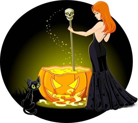 A sexy witch mixes a potion in her cauldron. Background on separate layer for easy editing. Illustration