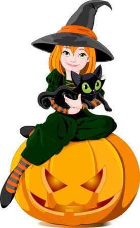 Illustratie van een schattige kleine heks met zwarte kat, zittend op een pompoen.