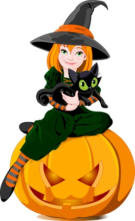 Illustration of a cute little witch with black cat, sitting on a  pumpkin.