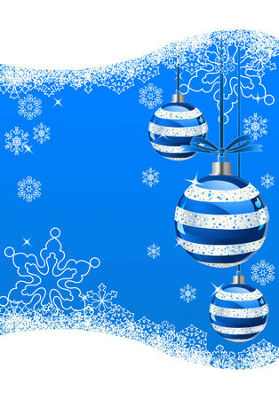 The white snowflakes on top of the blue background  Vector