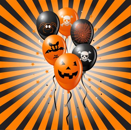 halloween party: Halloween ballonnen op retro achtergrond. Omvat de vleermuis, schedel, pompoen, spin en spinnen web.  Stock Illustratie