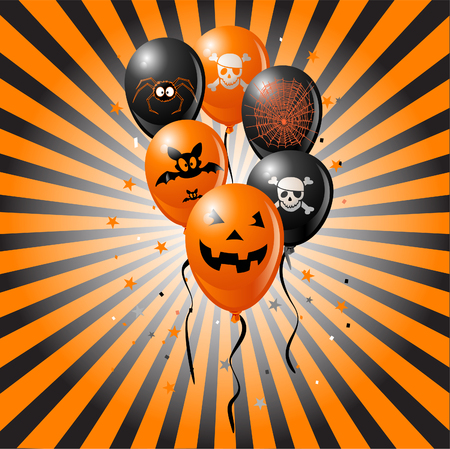 Halloween balloons on  retro background. Includes bat, skull, pumpkin, spider and spider web. Çizim
