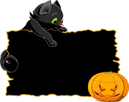 halloween party: Cute  black kitten on a Halloween  place card or invite.  Illustration