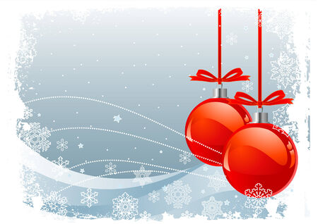 frosted: Red Christmas Balls on Christmas snowing background