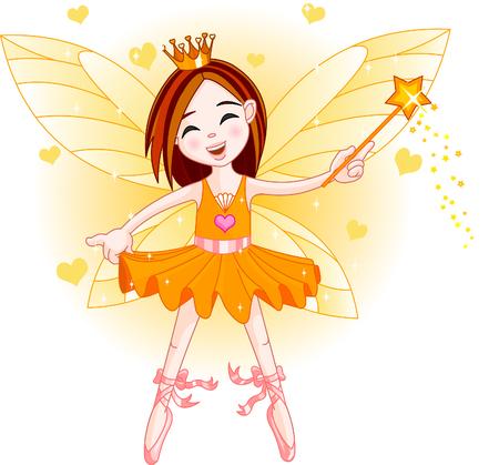 fee zauberstab: Cute Fairy Ballerina fliegen. Alle Objekte sind separate gruops  Illustration