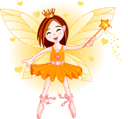 ballet child: Cute fairy ballerina flying . All objects are separate gruops Illustration