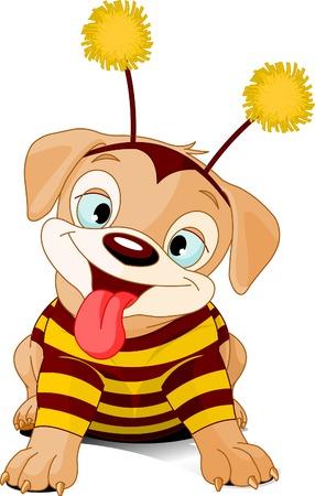 Schattige kleine puppy gekleed-up zoals bee voor Halloween Stock Illustratie