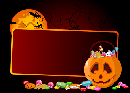 A vector  background of Jack O Lantern bag full of Halloween treats.