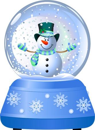 幸せな雪だるまの雪の世界で。ベクトル イラスト  イラスト・ベクター素材