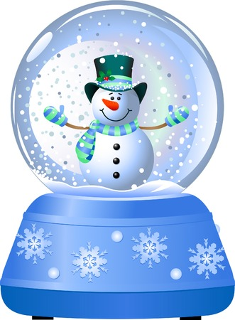 Happy snowman in Snow Globe. Vector illustration Ilustracja