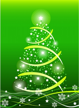 Green color Christmas background, vector illustration