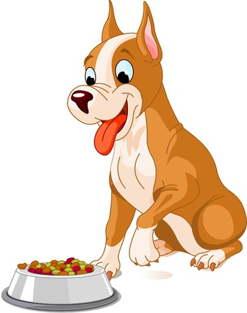 dog food: Hungry dog about to eat a bowl of dog food  Illustration