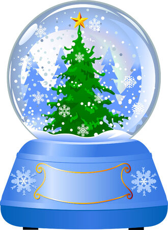 Snow globe with a Christmas tree inside on white background.
