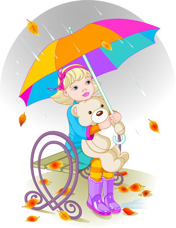 bench alone: Little girl and Teddy Bear under umbrella