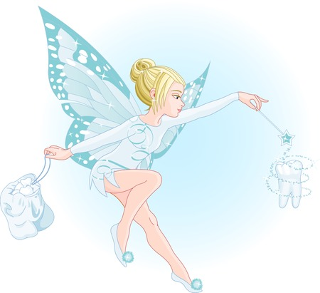 tooth fairy: A tooth fairy with a magic wand and a bag full of teeth. All objects are separate groups Illustration