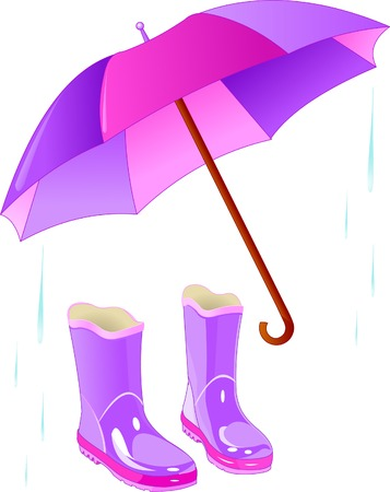 Pair of rain boots with an open umbrella