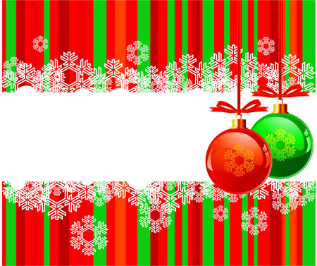 The white snowflakes on top and bottom of the stripe colored background decorated with balls Stock Vector - 5680976