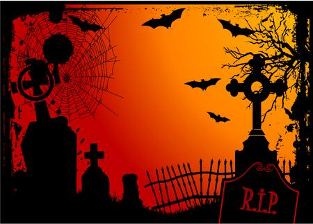 halloween background: Grunge Halloween cemetery background