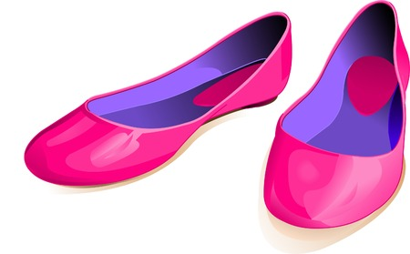 pump shoe: Shiny pink shoes against a white background