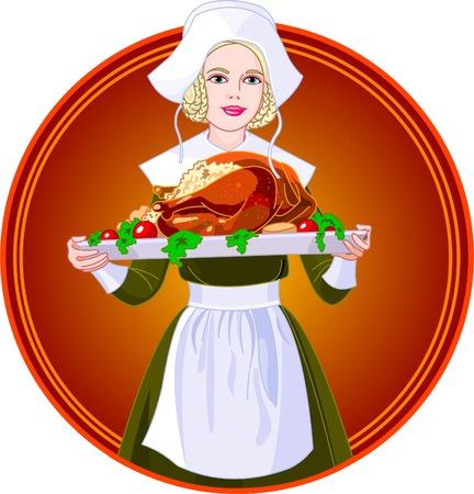 Jonge vrouw verkleed als een pelgrim voor Verenigde Staten Thanksgiving vakantie, waar een grote kalkoen diner  Stock Illustratie