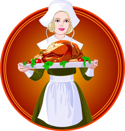 period costume: Young woman dressed as a Pilgrim for USA Thanksgiving Holiday, serving a big turkey dinner