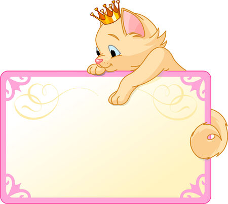 Cute  Cat Princess  on a place card or invite. Ideal for little girls parties and promotions.