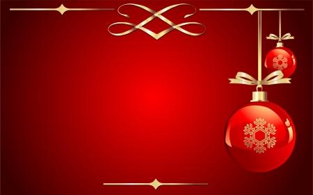 Rode kerst ballen op rode achtergrond  Stockfoto - 5701990