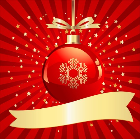 Sparkling Christmas Ball on red background with a place for copytext Vector