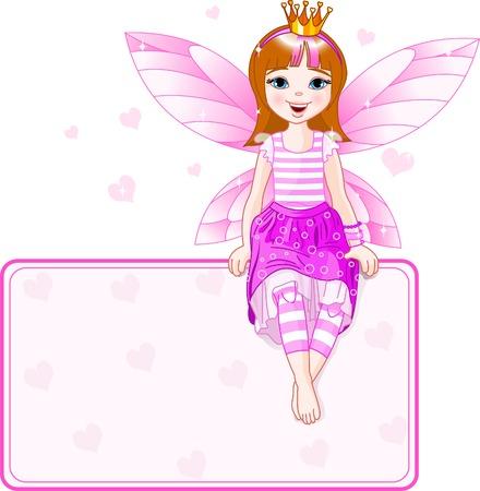 小さなピンクの妖精場所カードの上に座って。すべてのオブジェクトは別々 のグループ  イラスト・ベクター素材