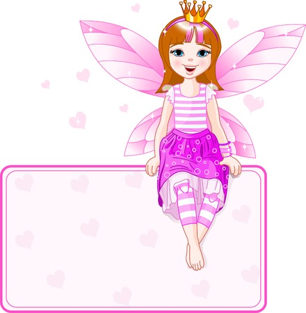 fairy princess: Little pink fairy sitting on place card. All objects are separate groups