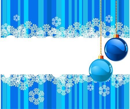 The white snowflakes on top and bottom of the stripe colored background decorated with balls  Vector