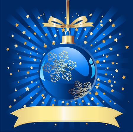 Sparkling Christmas Ball on blue background with a place for copy/text