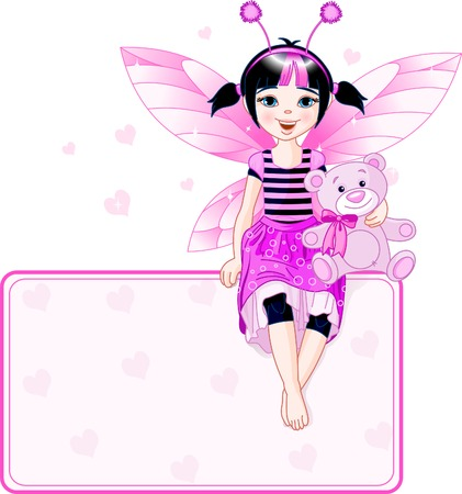 Little cute fairy sitting on place card. All objects are separate groups