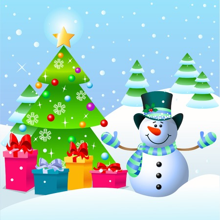 Cute Snowman standing near a Christmas tree  Vector