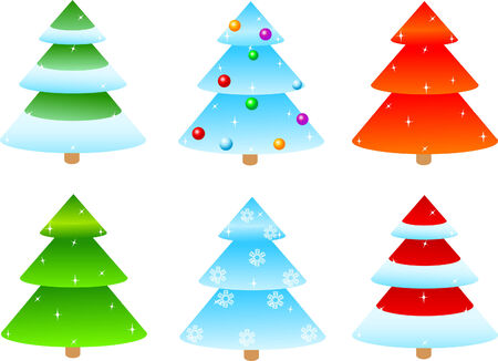 illustrated of different designs of  Christmas trees