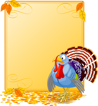 plumage: Cartoon turkey strutting with plumage. Elements are layered for easy editing.  Great for invitations, announcements, place cards, etc.
