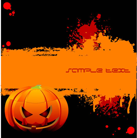 blood stain: Halloween Grunge banner with pumpkin and blood stain