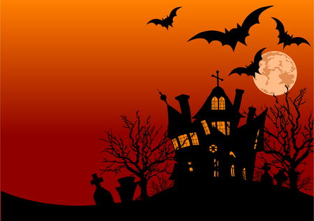 background: Horizontal Halloween flyer with a haunted house and graveyard Illustration