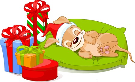 dog costume: Cute little puppy with Santa�s Hat sleeping near his Christmas gifts.