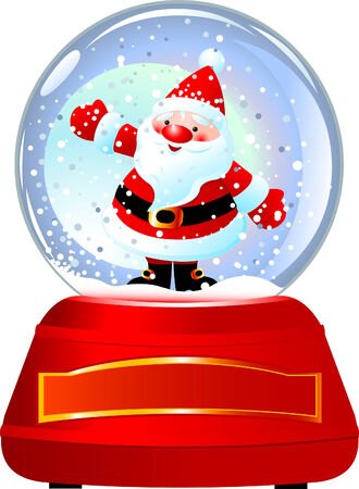 outstretched: Santa Claus in Snow Globe. illustration