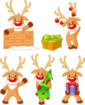 Five separately grouped little Rudolphs. illustration Christmas Vettoriali