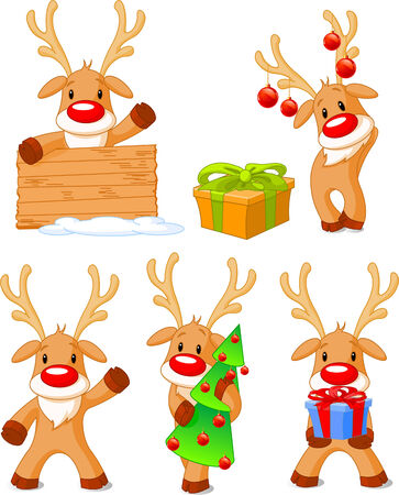 Five separately grouped little Rudolphs. illustration Christmas Vector